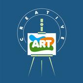 Vector logo creative easel for art — Stock Vector