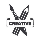 Vector logo brush and pencil for creativity — Stock Vector