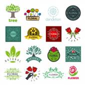 Biggest collection of vector logos of flower and vegetable — Stock Vector