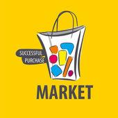 Logo vectoriel peint sac sur fond jaune — Vecteur