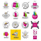 Large set of vector logos for market — Stok Vektör