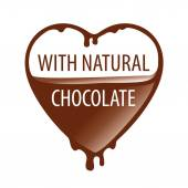 Vector logo heart with natural chocolate — Stock Vector