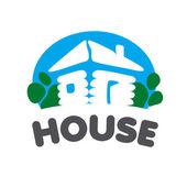 Village house vector logo on a blue background — Stock Vector