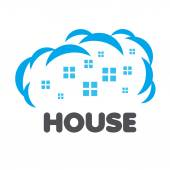 Vector logo windows of houses in the clouds — Stock Vector