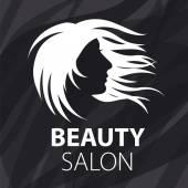Vector logo fluttering female hair — Stock Vector