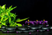 Spa concept of zen basalt stones with drops, lilac candles, bead — Stock Photo