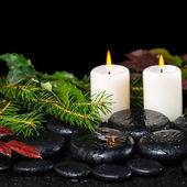 Winter spa concept of zen basalt stones, evergreen branches, red — Stock Photo