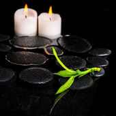 Beautiful spa background of green branch bamboo and candles on z — Stock Photo