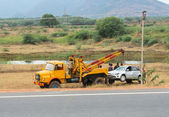 TRICHY, INDIA - FEBRUARY 15: After the accident, the car raise e — Stock Photo