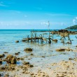 Beautiful exotic beach in Thailand with fishing gear at low tide — Stock Photo #67365213
