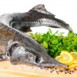 Fresh raw sturgeon fish with greens, lemon, different peppers an — Stock Photo #69534883