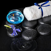 Beautiful spa concept top down of iris flower, blue candle, whit — Stock Photo