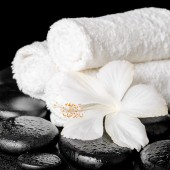 Spa background of white hibiscus flower and towels on zen basalt — Stock Photo