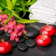 Spa still life of blooming twig red orchid flower, phalaenopsis, — Stock Photo #71837521