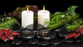 Zimowe koncepcja spa zen bazaltu kamienie, wiecznie zielone gałęzie, czerwony — Zdjęcie stockowe