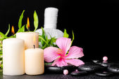 Spa setting of hibiscus flower, twig bamboo, thai herbal compres — Stock Photo