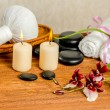 Spa still life of orchid flower, Cambria, thai herbal compress b — Stock Photo #75124731