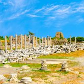 Ancient ruins of goddess chance Tyche temple Roman Empire, Side, — Stock Photo