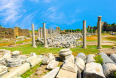 Ancient monuments Tyche temple of Roman Empire, Side, Turkey , t — Stock Photo