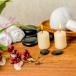 Spa still life of orchid flower, Cambria, thai herbal compress b — Stock Photo #80113982