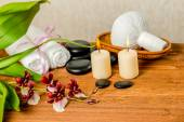 Spa still life of orchid flower, Cambria, thai herbal compress b — Stock Photo