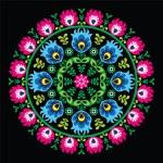 Polish traditional circle folk art pattern on black - Wzory Lowickie, Wycinanka — Stock Vector #51896521