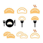Dumplings, food vector icons set — Stock Vector