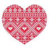 Traditional Ukrainian red folk art heart pattern — Stock Vector