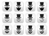 Man with hat with beard and glasses buttons set — Stock Vector