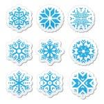 Snowflakes icon set on black and white background — Stock Vector