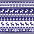 Winter, Nordic seamless navy blue pattern with reindeer — Stock Vector #52002743