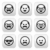 Bald man with mustache and in glasses faces buttons set — Stock Vector