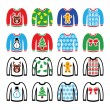 Постер, плакат: Ugly Christmas sweater on jumper icons set