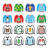 Ugly Christmas sweater on jumper icons set — Stock Vector