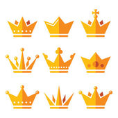 Gold crown, royal family icons set — Stock Vector