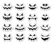 Scary Halloween pumpkin faces icons set — Stock Vector