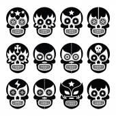 Lucha Libre - Mexican sugar skull masks black icons — Stock Vector