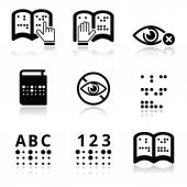 Blindness, Braille writing system icon set — Stock Vector
