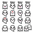 Kawaii cute ghost for Halloween icons set — Stock Vector #52649099