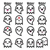 Kawaii cute ghost for Halloween icons set — Stock Vector