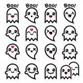 Kawaii cute ghost for Halloween icons set — Stock Vector