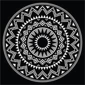 Tribal folk round Aztec geometric pattern on black — Stock Vector