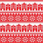 Nordic, winter seamless red pattern with houses — Stock Vector