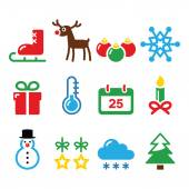 Christmas winter icons set — Stock Vector