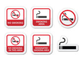 No smoking, smoking area vector icons set — Stock Vector