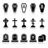 Halloween, graveyard icons set - coffin, cross, grave — Stock Vector