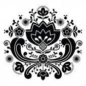 Norwegian folk art Bunad black pattern - Rosemaling style embroidery — Stock Vector