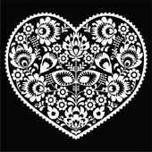 Polish white folk art heart pattern on black - wzory lowickie, wycinanka — Stock Vector