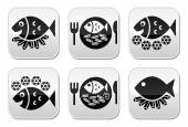 Fish and chips vector buttons set — Stock Vector