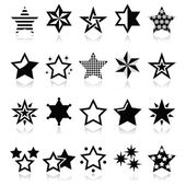 Stars black icons with reflection isolated on white — Stock Vector